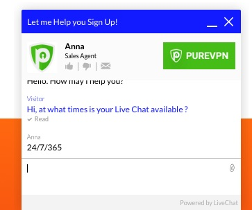 purevpn live chat support