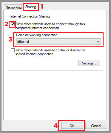 sharing vpn connection for xbox over ethernet