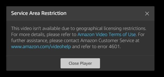 amazon prime video error 4601