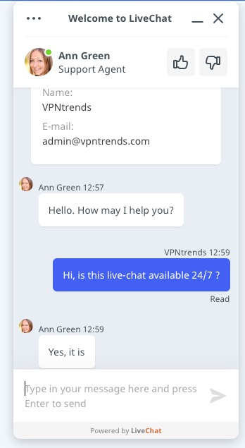 VeePN customer support live chat